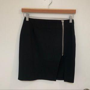 Black Tobi mini skirt with zipper and high slit